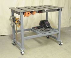 Segmented welding top for clamping things to it New Welding Table WeldingWebâ& Welding forum for pros and enthusiasts - 23 Inspirational Diy Welding Table Ideas Welding Bench, Welding Table Diy, Welding Cart, Metal Welding, Diy Table, Pipe Furniture, Industrial Furniture, Furniture Design, Industrial Design