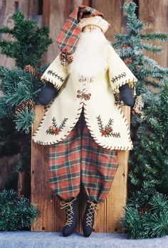 Cloth Doll Pattern  24in Primitive Santa by FruitfullHands on Etsy