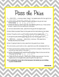 Wonderful Pass The Prize Game Pass The Prize Game, Baby Shower Game, Baby Shower