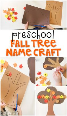 Plemons' Kindergarten This fall tree craftivity is fun for name and fine motor practice with a fall theme. Great for tot school, preschool, or even kindergarten! Preschool Names, Fall Preschool Activities, Preschool Lessons, Preschool Learning, Toddler Activities, October Preschool Crafts, Preschool Fall Theme, Teaching, Preschool Projects