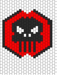 punisher mask Kandi Mask Patterns, Pony Bead Patterns, Beading Patterns Free, Peyote Patterns, Bracelet Patterns, Cross Stitch Patterns, Kandi Cuff, Kandi Bracelets, Photo Pattern
