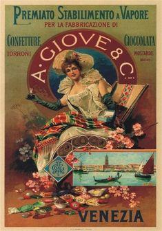 """TARGA VINTAGE """"GIOVE CONFETTURE TORRONE"""" Pubblicità, Advertising, Poster  Plate"""