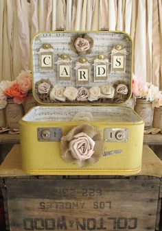 Card Storage Vintage Suitcases vintage suitcase wedding card holder shabby chic wedding rustic country wedding on etsy 185 00 Vintage Suitcase Wedding, Vintage Wedding Cards, Card Table Wedding, Vintage Suitcases, Wedding Boxes, Wedding Signs, Wedding Ideas, Wedding Suitcase For Cards, Card Holder Wedding