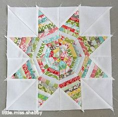 Kaleidoscope Star String Block - I would like to try this with the triangles and inner circles in the same arrangement of fabrics or just similar colours