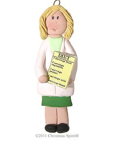 Personalized Dietitian-Nutritionist Ornament-Female from the Christmas Spirit® Shop in Bar Harbor Maine