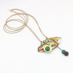 Long polymer clay Pendant, Faux marble style Pendant, Abstract oval Pendant, Polymer clay colorful Jewellery