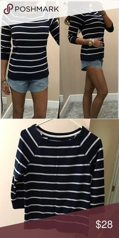 🌈Nautical top Boxy style top. 3/4 length sleeves. Perfect for spring and summer!! Euc. Xs Tops Tees - Long Sleeve