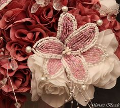 Amazon.com: Pink and Mauve BEADED Flower Lily Wedding / Quincenarea Bouquet 16 PC Set with FREE Boutonnieres: Handmade