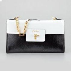 Prada Nero And Bianco Saffiano Vernice Chain Shoulder Bag