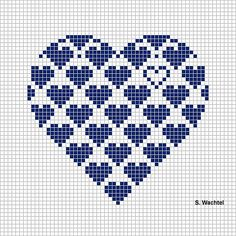 Heart in cross stitch - would make it so the hearts at the tops of the curves were complete