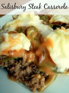 There is something comforting about the phrase Salisbury Steak. I have always related this term to comfort food. Salisbury Steak Casserole is an easy to make, down to earth, good home cooking meal that so far just about everyone I've met likes. Beef Dishes, Food Dishes, Main Dishes, Salisbury Steak Casserole Recipe, Le Diner, Ground Beef Recipes, Ground Beef Rice, Ground Turkey, Casserole Dishes