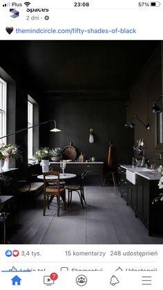 Black Kitchen Cabinets, Black Kitchens, Exterior Design, Interior And Exterior, Gold Interior, Interior Ideas, Best Cabinet Paint, Black Accent Walls, White Staircase