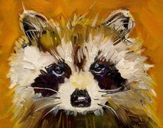 Woodland Racoon Painting