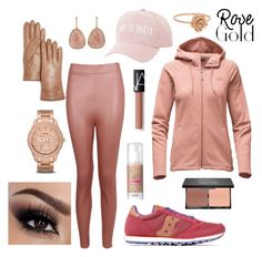 """Bike Day Out"" by gitawidya ❤ liked on Polyvore featuring The North Face, Boohoo, Saucony, Bloomingdale's, Charlotte Russe, FOSSIL, blacklUp, NARS Cosmetics and Benefit"