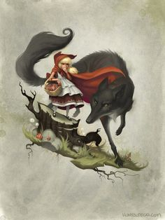 In Scarlet, we have our own (mostly) human version of the wolf. One of the differences in the story though is that our Little Red doesn't act like a mindless ninny when she meats the Wolf. Red Riding Hood Wolf, Little Red Ridding Hood, Red Hood, Illustrations, Illustration Art, Charles Perrault, Bad Wolf, Eye Art, Photoshop
