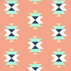 tribal salmon fabric by >>mintpeony<< on Spoonflower - custom fabric
