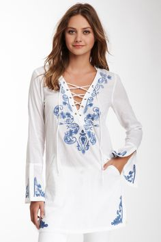 Embroidered Lace-Up Tunic by Marrakech on Embroidered Clothes, Embroidered Lace, Stitching Dresses, Moda Chic, Embroidery Fashion, Kurta Designs, Women's Summer Fashion, Indian Outfits, Casual Chic