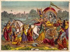 Krishna and Balarama are seated in a chariot driven by Akrura. They are leaving their home of Brindaban and travelling to Mathura to fight Krishna's uncle Kamsa. The gopis crowd around the chariot, clutching at the wheels, attempting to halt their departure. Colour lithograph,  The Calcutta Art Studio, c.1895.