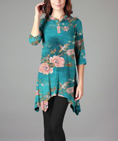 Teal & Peach Floral Sidetail Tunic - Plus Too
