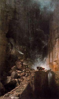 Dragon walking between rocks - Arnold Böcklin
