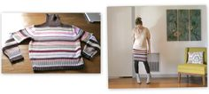 Recycled Fashion: Upcycled Striped Sweater Skirt and Legwarmers