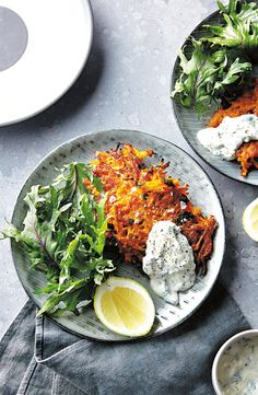 Try these spicy sweet potato and carrot fritters with kale and yogurt dressing for a healthy mid morning treat