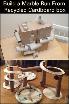 Keep The Kids Entertained by Building a Marble Run with Recycled Cardboard Box! Keep The Kids Entertained by Building a Marble Run with Recycled Cardboard Box! Stem Projects, School Projects, Projects For Kids, Diy For Kids, Craft Projects, Crafts For Kids, Camping Crafts, Fun Crafts, Marble Maze