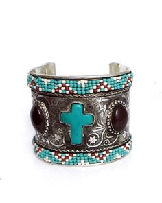 Cowgirl Bling TURQUOISE CROSS Beaded Bracelet CUFF Silver Gypsy western  #Unbranded #Cuff