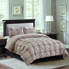 Cierra Taupe Ruched 3-Piece Comforter Full/Queen