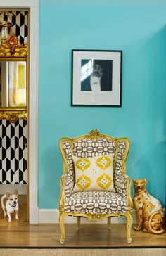 Turquoise room with yellow accents.