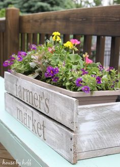 Farmhouse Plant Decor Idea with a Stenciled Planter Box