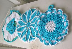 Vintage  Hand Crocheted Potholders by renaissancecouture on Etsy, $8.00