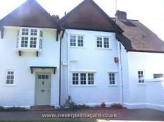 This house was covered in badly painted pebbledash. In one week we repaired and protected it with an exterior wall coating. Why not consider it for your house? Painted Pebbledash, Painted Houses, Gloucester, Spray Painting, House Painting, New Homes, House Styles, Outdoor Decor, Wall