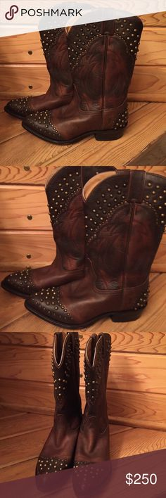 "Frye Billy Studded Cowboy Boots-color ""Maple"" Beautiful Frye Billy Studded boots!! Gorgeous, just like new. I only wore these boots once, they are a touch too big for me so sadly I am selling them. Frye Shoes Heeled Boots"