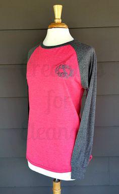 Women's Monogrammed Raglan Sleeve T-shirt by creationsforeleanor
