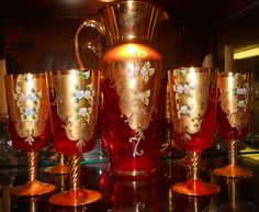 Venetian Ruby Red  Vintage Glass Pitcher with Six Matching Goblets Collectable From Italy.