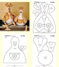 Templates For Fabric Crafts: Chicken with mold Animal Sewing Patterns, Stuffed Animal Patterns, Doll Patterns, Sewing Toys, Sewing Crafts, Sewing Projects, Fabric Animals, Fabric Birds, Chicken Quilt