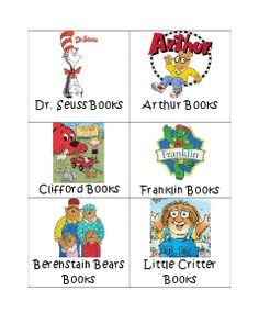 classroom library: book labels by author/series Library Book Labels, Book Box Labels, Classroom Library Labels, Bin Labels, Labels Free, Classroom Ideas, Library Signs, Kindergarten Reading, Kindergarten Classroom