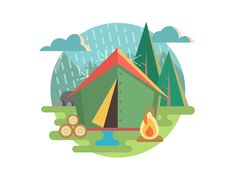 Outdoor+Recreation+Camping.+Tent+and+travel,+recreation+and+picnic,+adventure+tourism.+Flat+vector+illustration.Vector+files,+fully+editable.+Includes+AI+CS5,+EPS+10