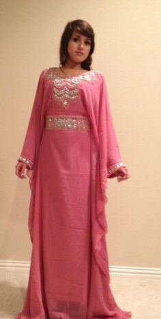 Chiffon Maxi Dress Beaded Caftan. One Size Fits Most. Blush Pink