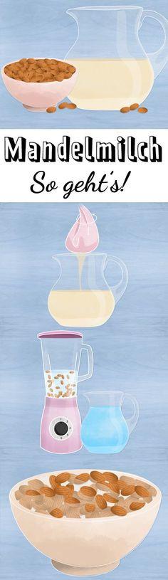 Vegan und lecker: Wir erklären Schritt für Schritt, wie du aus zwei simplen Zutaten aromatische Mandelmilch selber machst.