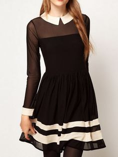 Skater Dress In Mesh With Contrast Detail | Choies