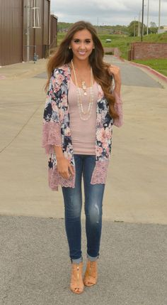 Loving this navy flirty floral kimono with mauve lace accents!