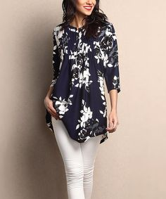 Another great find on #zulily! Navy Floral Chiffon Notch Neck Pin Tuck Tunic #zulilyfinds
