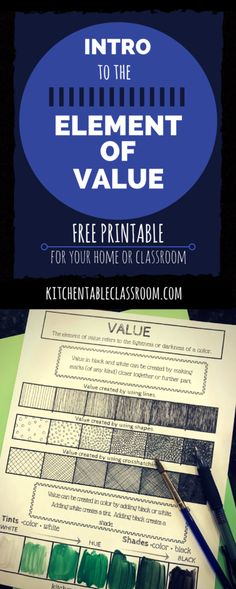 Free printable for the element of Value. #freebie #printable #arteducation