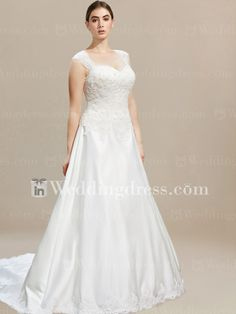 Plus Size Wedding Gown with Cap Sleeves PS008