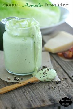 Caesar Avocado Dressing  by laurens latest ~ OMG, if you love avocados like I do... this is awesome. I made it with non-fat greek yogurt rather than mayo for a healthier version. Put on my spinach salad.... yum! S
