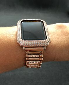 523809bbb0a Apple Watch Band 38mm 42mm Rose Gold Womens Mens Sterling Rhinestone  Crystal  Bezel Case Cover Lab Diamonds Iced Out Iwatch Bling