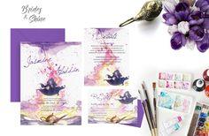 Aladdin Wedding Invitation Disney Wedding Invitations, Watercolor Wedding Invitations, Wedding Invitation Suite, Aladdin Wedding, Watercolor Artwork, Bride, Trending Outfits, Handmade Gifts, Etsy