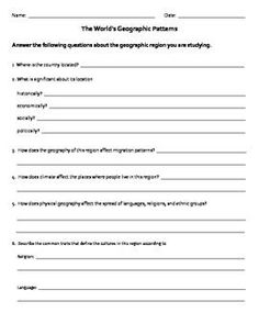 Students will use this worksheet to fill in the information about how geography influences settlement patterns